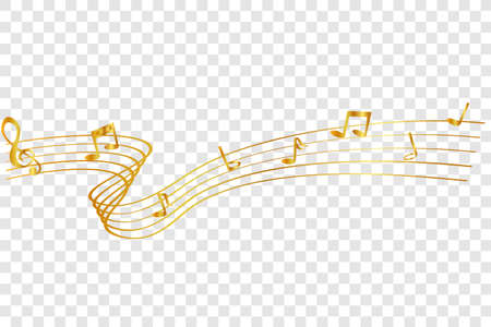 golden Musical Note waving line, for your element design, at transparent effect background Stock fotó