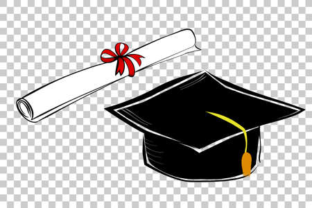 simple hand draw sketch of certificate with red ribbon and black graduation cap, at transparent effect background