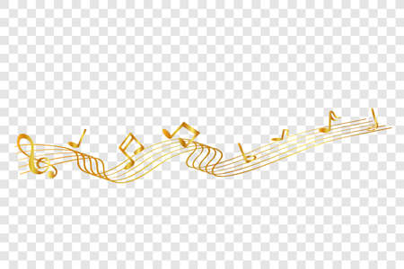 golden Musical Note waving line, for your element design, at transparent effect background Stockfoto