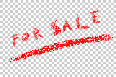 Red Crayon text, For Sale at transparent effect background Stock Photo