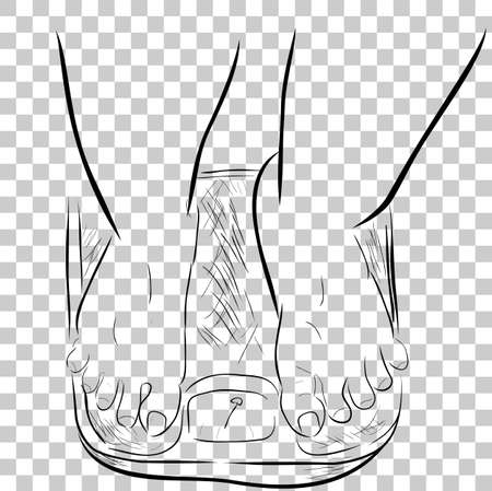 Outline Sketch of Fat Foot at Weight Scale at transparent effect background