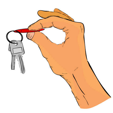 Doodle, Hand Holding a Key, Illustration for Rent / Sale/ Buy / Offer / Borrow Property or Transportation