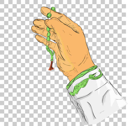 doodle gesture hand pray for god using prayer beads or tasbih, at transparent effect background