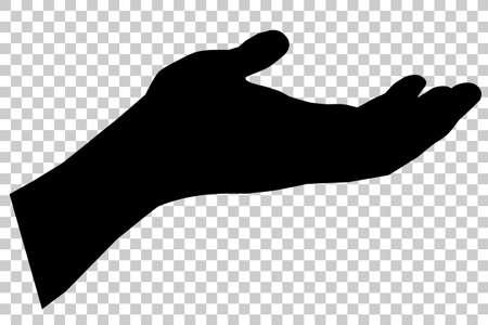Mano izquierda del gesto de silueta, lista para recibir o pidiendo algo, en el fondo del efecto transparente