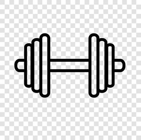 Simple icon of dumbbell at transparent effect background