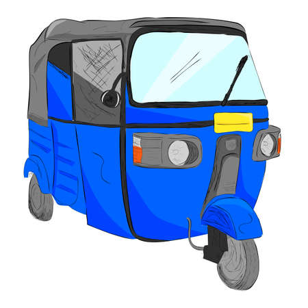 sketch flat color of blue bajaj, one of economic public transportation in india and indonesia