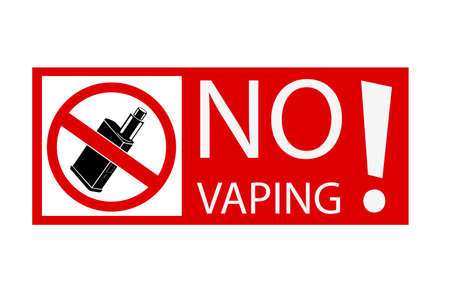 simple sign no vaping, isolated on white