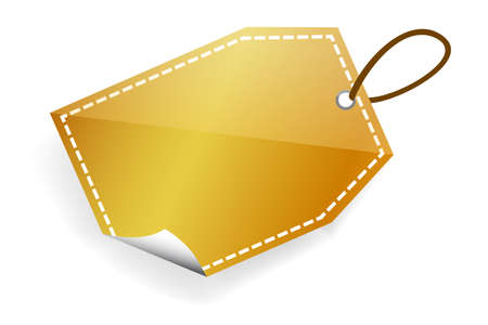 golden Shining rectangle Blank Tag with soft shadow Фото со стока