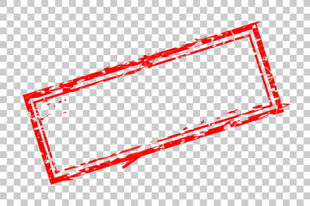 Blank Rectangle Red Rubber Stamp Template Blank at transparent effect background
