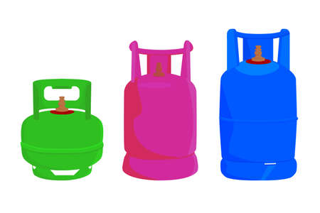 three model of gas cylinder in indonesia, isolated on white