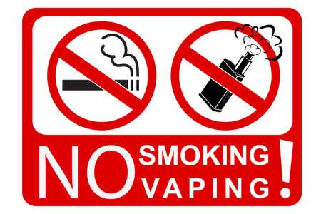 einfaches zeichen nicht rauchen und dampfen, isoliert auf weiß Standard-Bild