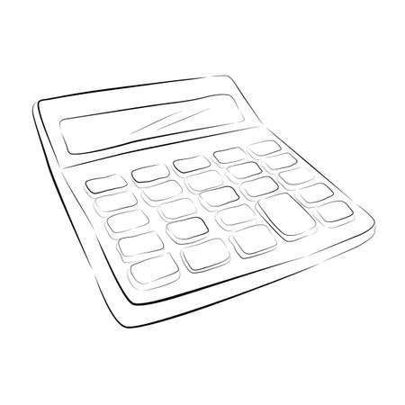 hand draw sketch of calculator isolated on white 写真素材