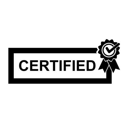 Simple Black and White Icon, Certified Banque d'images