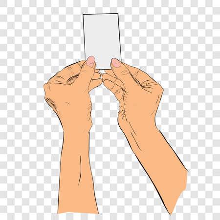 color sketch hand holding blank card at transparent effect background Banco de Imagens
