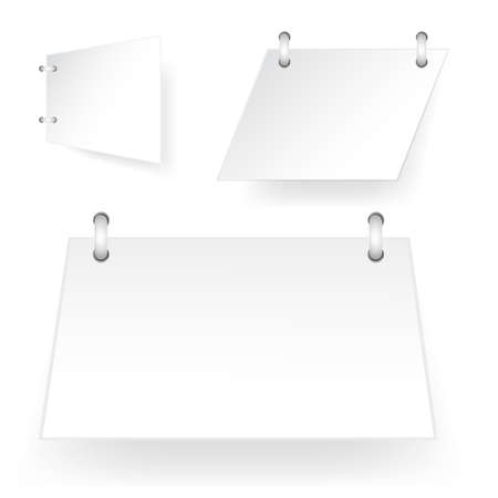 three style white paper cut tag with spiral binder, asymetric rectangle