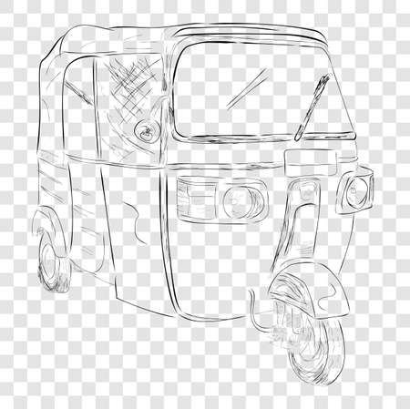 sketch of bajaj, one of economic public transportation in india and indonesia