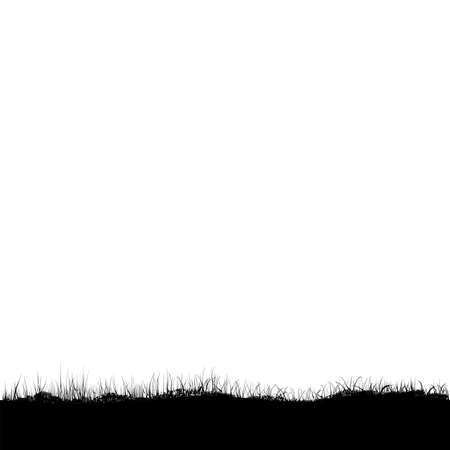 silhouette grassland at white background