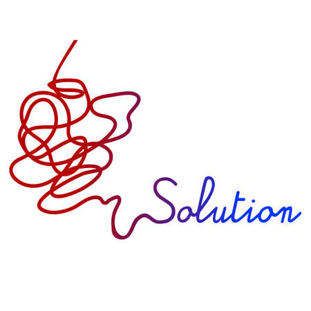Vector Simple illustration for complicated and tangled way to finding the solution