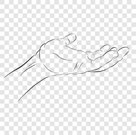 Gesto vettoriale abbozzato mano sinistra, pronto a ricevere o dare qualcosa, a sfondo trasparente effetto