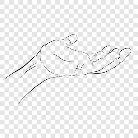 Vector Sketchy Gesture Left Hand, Ready to Receive or Give Something, at Transparent Effect Background
