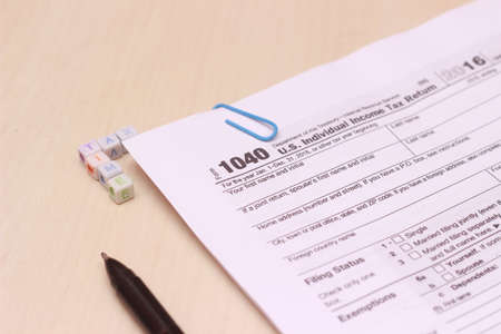 Photo close up of USA tax form type 1040, individual income tax return
