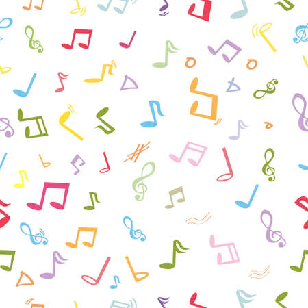 Vector Seamless Pastel Color Pattern, Music Note for Background, Wrapping Paper, Banner etc