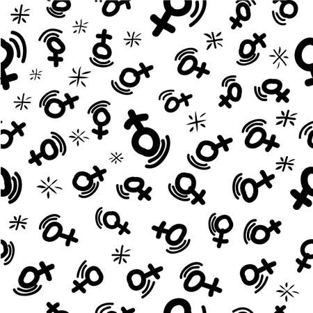 Vector Seamless Doodle Pattern Female Symbol with motion effect and star for background, banner, wrapping paper etc   Standard-Bild - 116947871