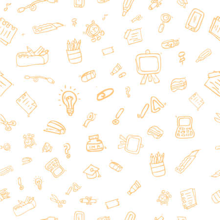 Sketch Seamless Pattern Stationary and symbol for Background, Paper Wrap, Banner, curtain, etc