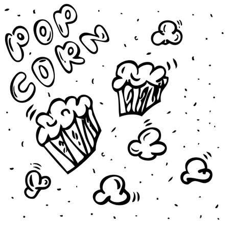 Vector hand draw sketch various shape Pop Corn   Фото со стока