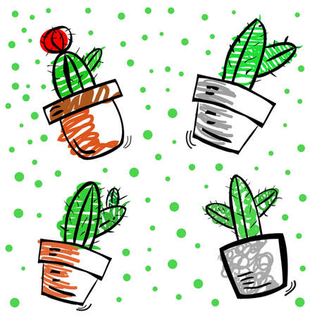 simple vector Funny Doodle scribble sketch of four different cactus and green dots