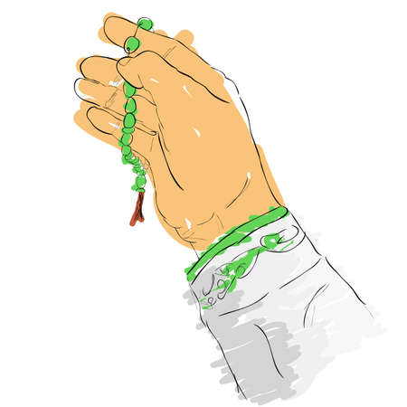 vector doodle gesture hand pray for god using prayer beads or tasbih, isolated on white