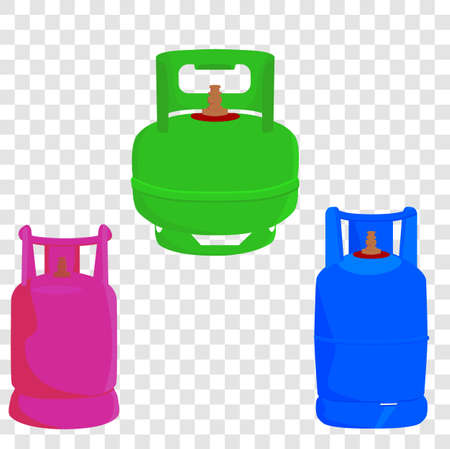 Vector 3 model of gas cylinder in indonesia, Green, pink and blue, at transparent effect background  Stock Photo