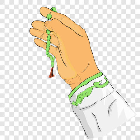 vector doodle gesture hand pray for god using prayer beads or tasbih,at transparent effect background  스톡 콘텐츠