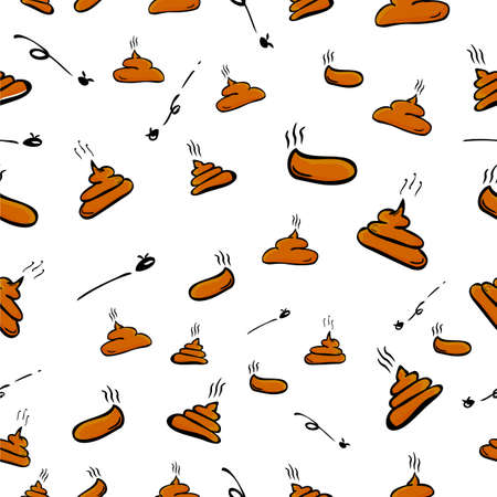 Simple Brown Hand Draw Sketch Seamless Pattern 4 Poop with fly   版權商用圖片