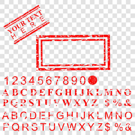 vector Template Rectangle Red Grunge Rubber stamp effect for your element design at transparent Fake background