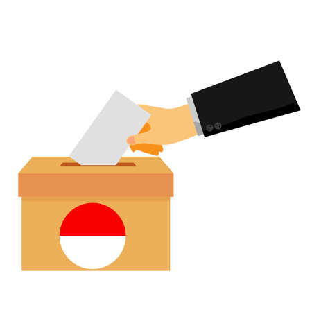 Vector simple concept, man hand using tuxedo give a paper vote at indonesia election