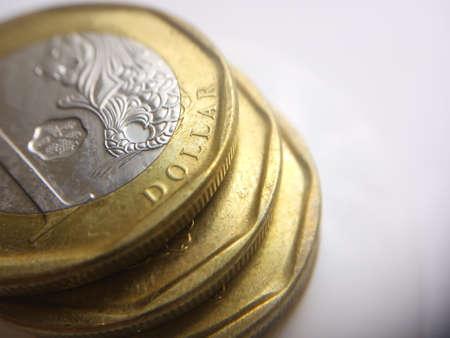 Conceptual Macro, stack of golden 1 singapore dollar Imagens