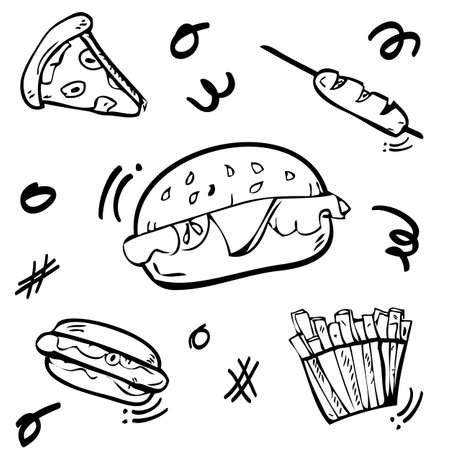 Vector 5 cute doodle Junk Food, Burger, Hotdog, Sausage, French, Fries, and Pizza with scribble yellow, red, green, orange fill color  Imagens