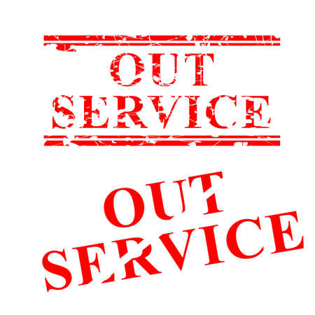 Vector Out of Service, 2 style streak red rubber stamp