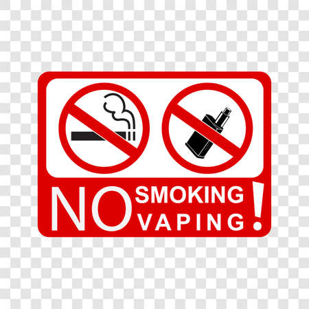 prohibition sign no smoking and vaping, at transparent effect background