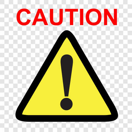 Vector sign, Caution at transparent effect background   Stock Photo