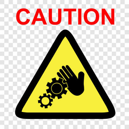 Vector sign, Caution danger of working engine, do not touch, at transparent effect background