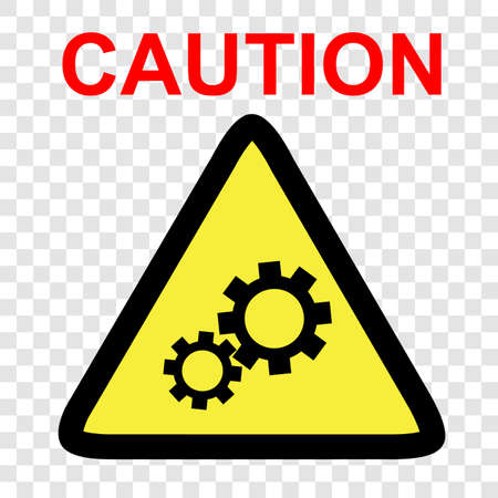 Vector sign, Caution danger of working engine, at transparent effect background   Stock Photo