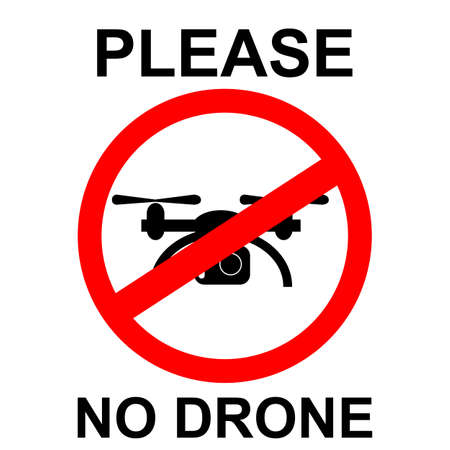 vector prohibition sign, No Drone, isolated on white