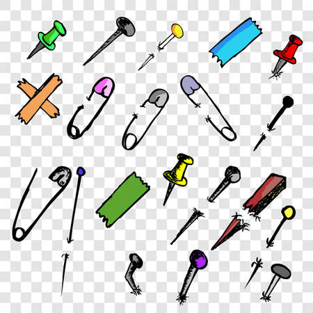 Simple colorful vector doodle Breastpin, push pin,  nail and needle at transparent effect background