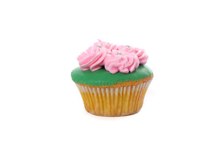 1 small Cup Cake on white background for your birthday greeting element design