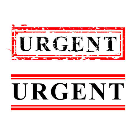 Vector Red and Black Rubber Stamp, urgent, isolated on white