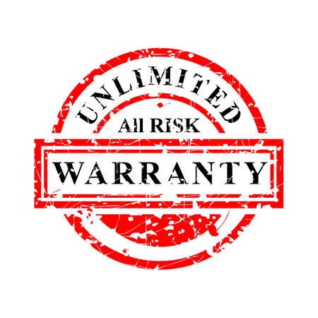 Vector Scratch Red Rubber Stamp, Unlimited All Risk Warranty, isolated on white