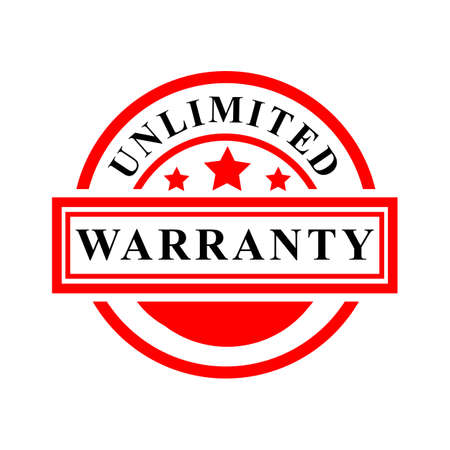 Vector Red Rubber Stamp, Unlimited Warranty, isolated on white
