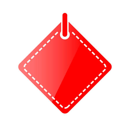 Red Shining Square Blank Tag, Icon Style, Isolated on White